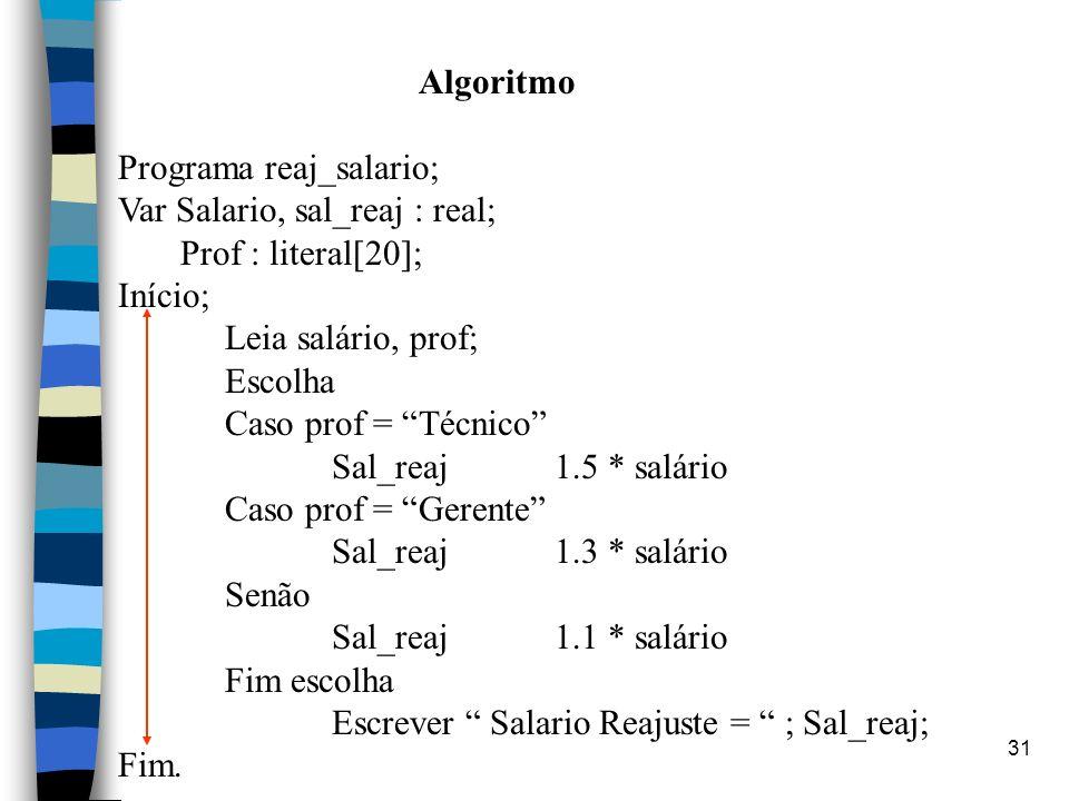 Algoritmo Programa reaj_salario; Var Salario, sal_reaj : real; Prof : literal[20]; Início; Leia salário, prof;